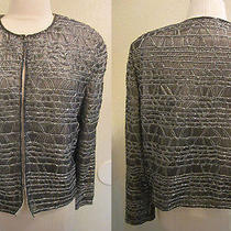 Adrianna Papell Evening Silk Beaded Cardigan Jacket Blazer Top Size L Vintage Photo