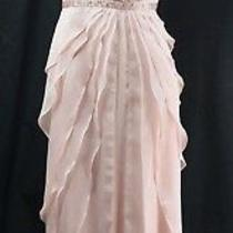 Adrianna Papell Fly Away Layered Ruffle Formal Maxi Dress Gown Draping Blush 8 Photo