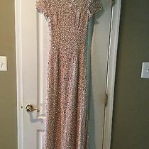Adrianna Papell Formal Full-Length Short Sleeve Beaded Blush Gown Sz. 0 Photo
