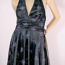 Adrianna Papell Gray-Black Glitter Prom Cocktail Halter Dress-Nwt-Sz 6-Msrp 180 Photo