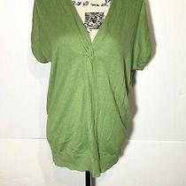 Adrianna Papell Knit Top Size L Green Cap Sleeve  Photo