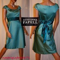 Adrianna Papell Ladies Seafoam/teal Satin Short Cap Slv Cocktail/party Dress10 Photo