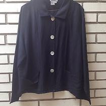 Adrianna Papell Linen Blend Jacket Black Pockets Mother of Pearl Buttons 16 Photo