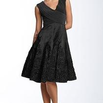 Adrianna Papell Matte Jersey & Taffeta Black Dress 8 Photo