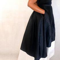 Adrianna Papell Midwaist Zipper Back Stripe Pattern Tafetta Skirt S Uk 8 Rrp125 Photo