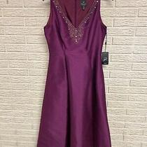 Adrianna Papell Misses Cocktail Party Dress Purple Sz 6 Small New 199 M108 Photo