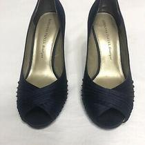 Adrianna Papell Navy Blue Open Toe Pumps Size 8.5 3 Heel Photo