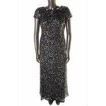 Adrianna Papell New Gray Sequined Short Sleeves Formal Dress Gown 10 Bhfo Photo