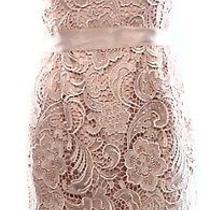 Adrianna Papell New Pink Blush Women's 4 Crochet Lace Sheath Dress 179 278- Photo
