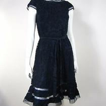 Adrianna Papell Nwt Short Sleeve Lace Boat Fit & Flare W Sash Dress 6 Navy 019 Photo