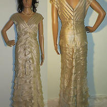 Adrianna Papell Occasion Shimmering Champagne Scalloped Layered Dress Gown 10 Photo