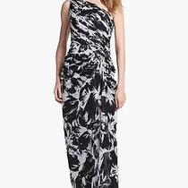 Adrianna Papell One Shoulder Print Chiffon Gown - Size 10 Photo