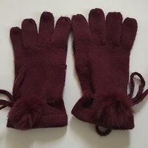 Adrianna Papell Purple Acrylic and Rabbit Fur Gloves Sz Osfm Photo