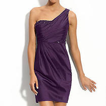 Adrianna Papell Purple Beaded One Shoulder Taffeta Dress -Size 6p  Photo