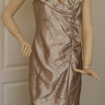 Adrianna Papell Ruched Portrait Collar Taffeta Sheath Dress (Size 12) Photo