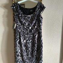 Adrianna Papell Stunning Black & Beige Short Dress Size 12 Bnwt  Photo