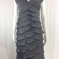 Adrianna Papell Sz 4 Crinkle Metallic Pewter Cap Sleeve Sheath Dress Photo