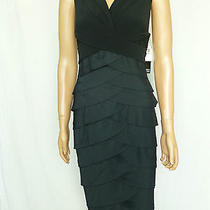 Adrianna Papell Taffeta & Jersey Black Shutter Pleat Dress Size 16  Photo