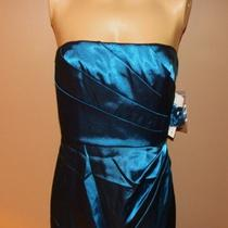 Adrianna Papell Teal Aqua Satin Pleat Evening Dress 6 Nycto 249 Photo