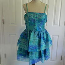 Adrianna Papell Tier Party Dress - Aqua Print  - Size 12 - 160 -  Nwt Photo