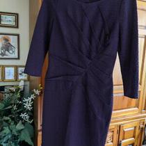 Adrianna Papell Violet / Purple / Black Dress Size 6 Slit Back Fancy Photo