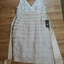 Adrianna Papell Womam Sz14w Sheath Dress Beige Shutter Ruffle Layered Sleeveless Photo