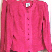 Adrianna Papell Womans 2-Pc Silk Skirt Suit Size 12p Pink    Photo
