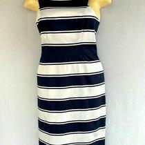 Adrianna Papell Women's Blue Stripe Sheath Casual Short Dress Size 10 Sleeveless Photo