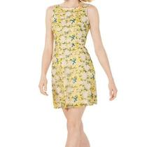 Adrianna Papell Women's Dress Yellow Size 10 a-Line Embroidered 139 220 Photo