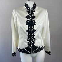 Adrianna Papell Women's Jacket Blazer Formal Floral White Black Size 6 Photo