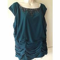 Adrianna Papell Women's Jewel Neck Sleeveless Blouse Hunter Green-Nwt Size 16 Photo