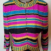 Adrianna Papell Women's Teal Fucsia Chain Link Silk Blazer 14 Vintage 80's Photo