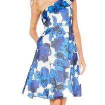 Adrianna Papell Womens Dress Blue Size 12 a-Line Floral One Shoulder 229 416 Photo