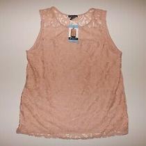 Adrianna Papell Womens Shirt Blush Pink Lace Tank Top Sleeveless Size M 49 Nwt Photo