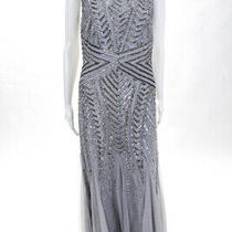 Adrianna Papell Womens Sleeveless Boat Neck Beaded Sequin Gown Gray Size 8 Photo