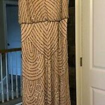 Adrianna Pappell Art Deco Blush Bridesmaid Dress Size 8 Beaded Hemmed to 5'1 Photo