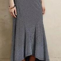 Adriano Goldschmied Sz Strumpet Fit & Flare Maxi Skirt Striped Blue White O Photo