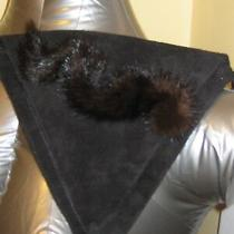 Adrienne Landau Black Suede Brown Mink Fur Traingle Design Bag Purse Clutch Photo