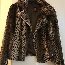 Adrienne Landau Faux Fur Leopard Print Motorcycle Stylejacket/coat Womens Size S Photo