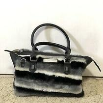 Adrienne Landau Fur Striped Leather Handbag Purse Bag Tote Black Gray Photo