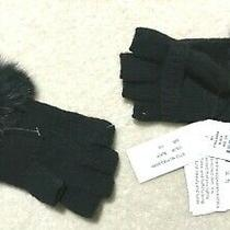 Adrienne Landau Knit Fingerless Gloves W/ Rabbit Fur Trim Black - Nwt - New Photo