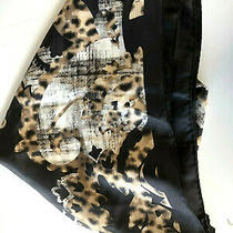 Adrienne Landau Shades of Brown Black Gray Print 100% Silk 34