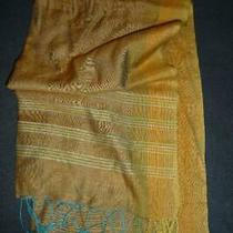 Adrienne Landau Studio Silk Blend Oblong Scarf  Gold Ombre Woven Fringed India Photo