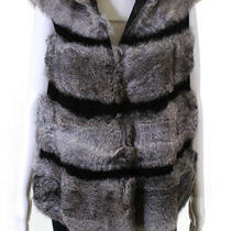 Adrienne Landau Womens Sleeveless Rabbit Fur Vest Jacket Coat Gray Size S Photo