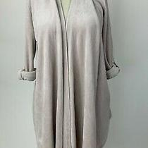 Adrienne Vittadini Blush Pink Velour Open Cardigan Jacket Cuff Sleeve Large L Photo