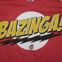 Adult L Large Big Bang Theory Tv Show Sheldon Bazinga Red T-Shirt Funny  Photo