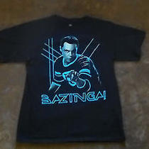 Adult M Medium Big Bang Theory Tv Show Sheldon Bazinga Black T-Shirt Funny  Photo