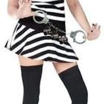 Adults Womens Prisoner Convict Mug Shot Fantasy Sexy Costume - Sm/md 2-8 Photo