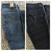 Ae American Eagle Lot of 2 Size 2 Super Skinny Jean & Black/gray Print Jeggings Photo