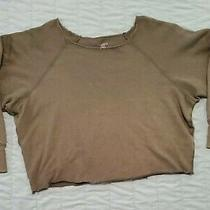 Aerie American Eagle Cropped Grey/green Oversized Sweatshirt Juniors Size Xs Photo